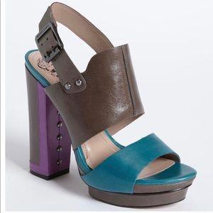 Vince Camuto Persh Color Block Peacock Sandal Sz 9